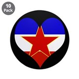 "I love Yugoslavia Flag 3.5"" Button (10 pack)"