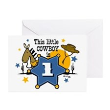 Little Cowboy 1st Birthday Greeting Cards (Pk of 2