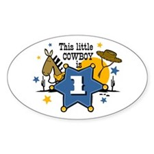 Little Cowboy 1st Birthday Oval Decal