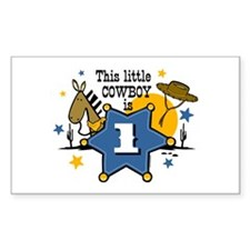 Little Cowboy 1st Birthday Rectangle Decal
