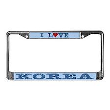 I Love Korea License Plate Frame