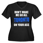 Toronto Baseball Women's Plus Size V-Neck Dark T-S