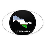 Flag Map of Uzbekistan Oval Decal