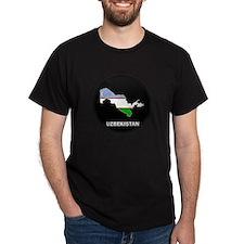 Flag Map of Uzbekistan T-Shirt