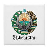 Uzbekistani Coat of Arms Seal Tile Coaster
