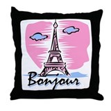 Bonjour Paris Throw Pillow