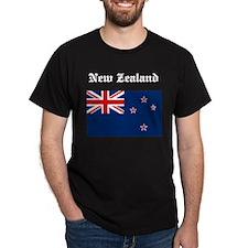 New Zealand Flag Black T-Shirt