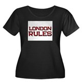 london rules Women's Plus Size Scoop Neck Dark T-S
