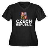 Czech Coat of Arms Women's Plus Size V-Neck Dark T