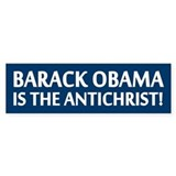 Barack Obama Is The Antichrist Bumper Car Sticker