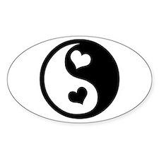 Heart Yin Yang Oval Sticker (10 pk)