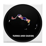 Flag Map of Turks and Caicos Tile Coaster