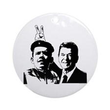Ron Gives Obama the Rabbit Ears Ornament (Round)