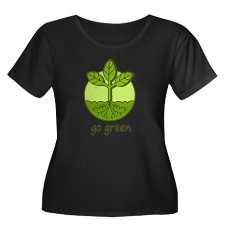 Go Green Women's Plus Size Scoop Neck Dark T-Shirt