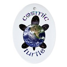 Cosmic Turtle Oval Ornament