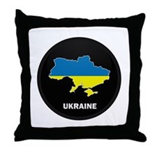 Flag Map of ukraine Throw Pillow