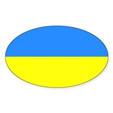 ukraine Flag Oval Sticker (10 pk)