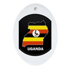 Flag Map of uganda Oval Ornament