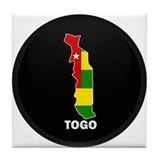 Flag Map of togo Tile Coaster