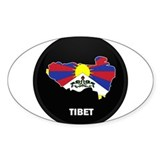 Flag Map of tibet Oval Decal