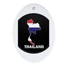 Flag Map of Thailand Oval Ornament