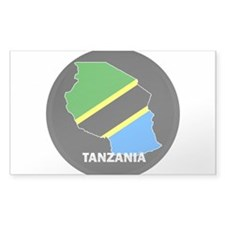 Flag Map of Tanzania Rectangle Decal