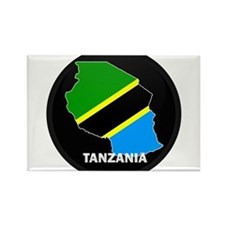 Flag Map of Tanzania Rectangle Magnet