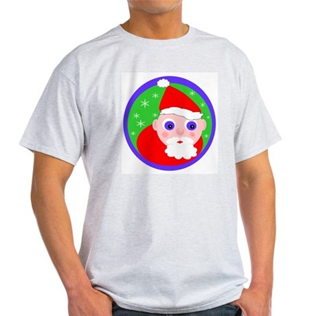 Santa Cartoon Ash Grey T-Shirt