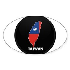 Flag Map of taiwan Oval Decal