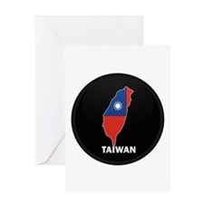 Flag Map of taiwan Greeting Card