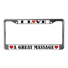 I Love Massage License Plate Frame