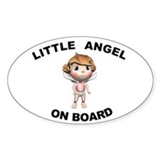 Little Angel on Board Oval Stickers