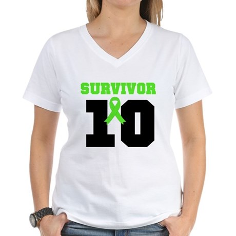 Lymphoma Survivor 10 Years Women's V-Neck T-Shirt