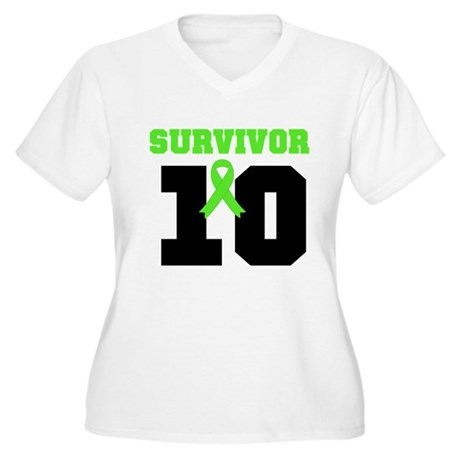Lymphoma Survivor 10 Years Women's Plus Size V-Nec