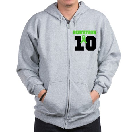 Lymphoma Survivor 10 Years Zip Hoodie