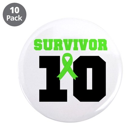 "Lymphoma Survivor 10 Years 3.5"" Button (10 pack)"