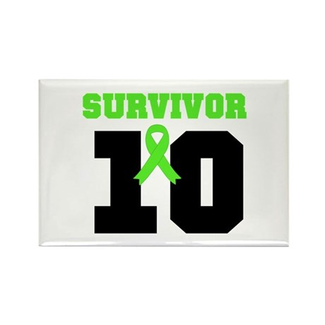 Lymphoma Survivor 10 Years Rectangle Magnet (100 p