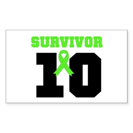Lymphoma Survivor 10 Years Rectangle Sticker