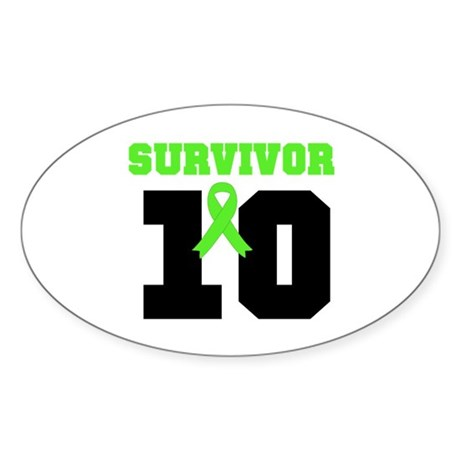 Lymphoma Survivor 10 Years Oval Sticker