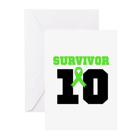 Lymphoma Survivor 10 Years Greeting Cards (Pk of 2