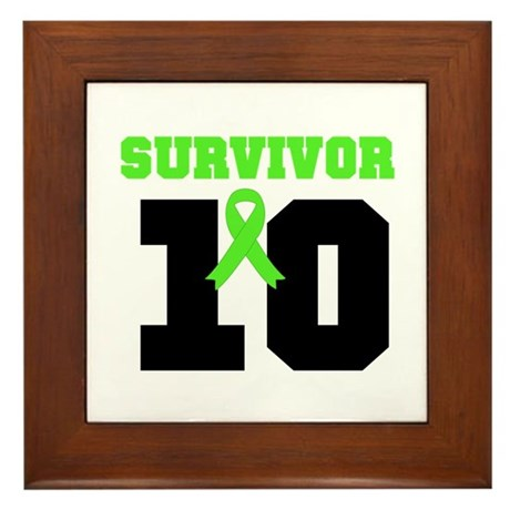 Lymphoma Survivor 10 Years Framed Tile