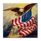 """Eagle with Flag"" Tile Coaster"