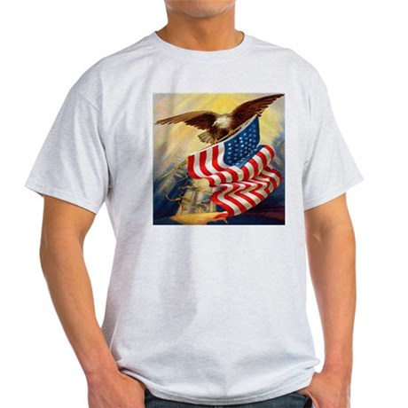 """Eagle with Flag"" Light T-Shirt"