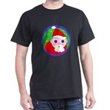 Santa Cartoon Black T-Shirt