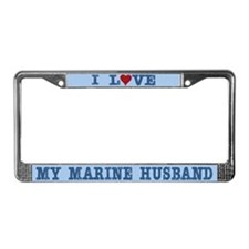 I Love My Marine Husband License Plate Frame