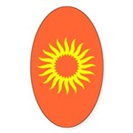 Yellow Sunburst On Orange Oval Sticker