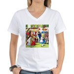 ALICE & THE QUEEN OF HEARTS Women's V-Neck T-Shirt