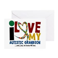 I Love My Autistic Grandson 2 Greeting Cards (Pk o
