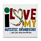 I Love My Autistic Grandsons 2 Tile Coaster