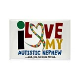 I Love My Autistic Nephew 2 Rectangle Magnet (10 p